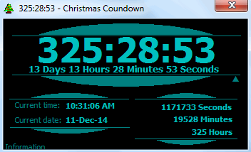 christmas countdown is a tiny application just 7 kb zip file that shows the time remaining till christmas it shows the remaining time in days hours - How Much Time Till Christmas