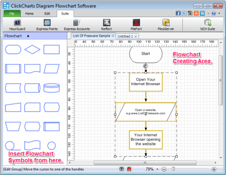 10 best free flowchart software for windows clickcharts diagram flowchart software can let you create multiple flowcharts simultaneously it provides many different and useful type of symbols for ccuart Choice Image