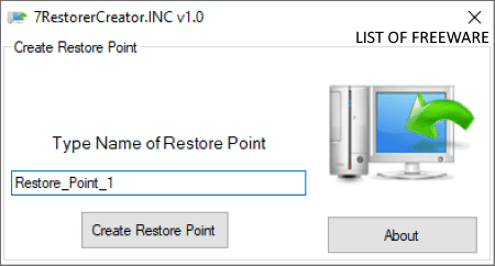 software to create restore point