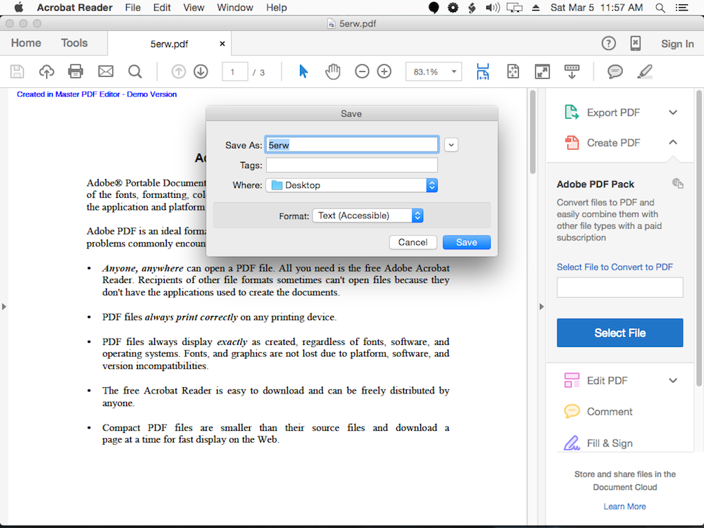 adobe export pdf free