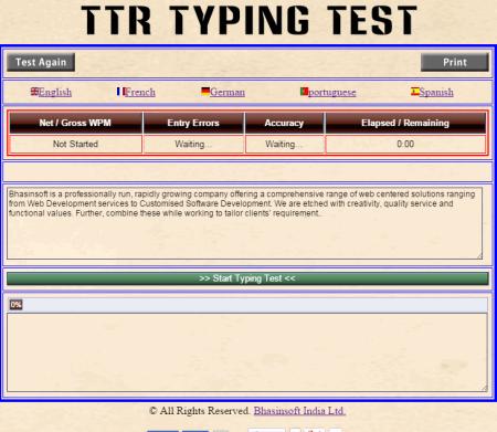 printable typing test wpm