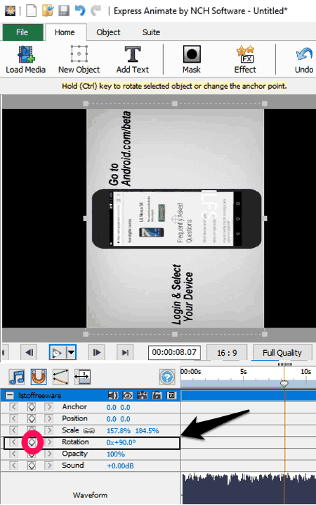 19 best free video rotator software for windows express animate is another freeware to rotate videos when you add a video file you can see rotation on its timeline highlighted in above screenshot ccuart Gallery