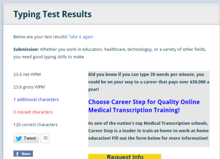 text typing test
