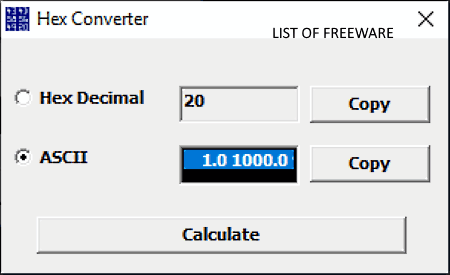 ASCII to HEX converter software