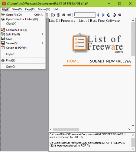 Freeware tiff to pdf