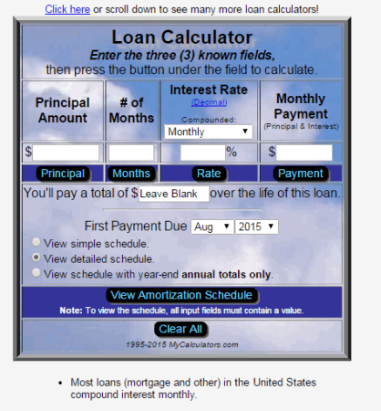 detailed loan calculator investment property valuation calculator