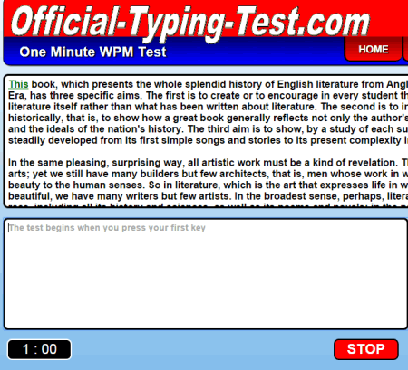 official typing test