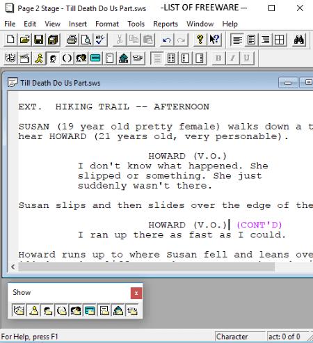 Open source script writing software