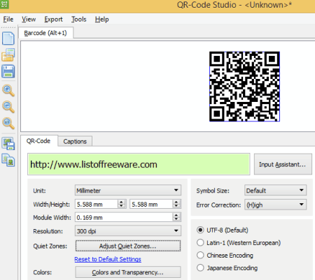 13 free qr code generator software for windows qr code studio is one of the most popular qr code generator software you can make qr code for various kinds of input such as text url reheart Choice Image
