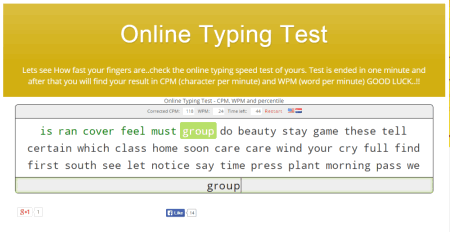 word per minute typing test