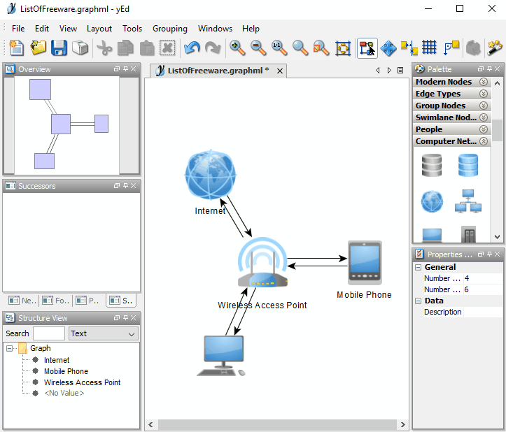 7 best free network diagram software for windows yed graph editor is a free network diagram software for windows it facilitates you with many computer network elements required to draw network diagrams ccuart Images